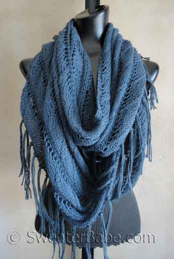 photo of boho lace scarf knitting pattern